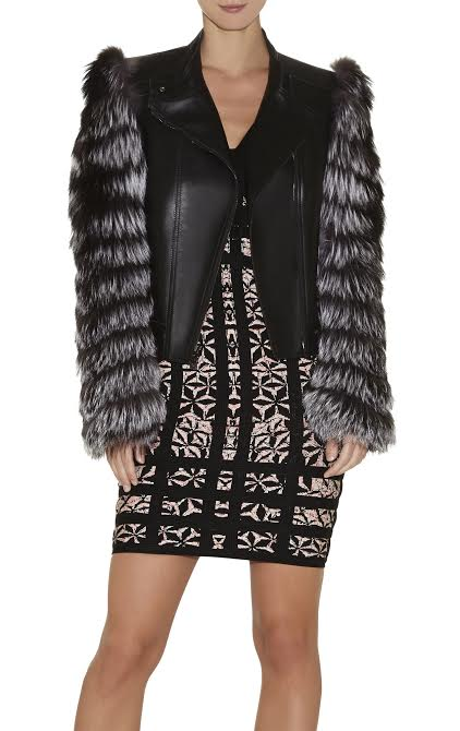 Herve Leger Darcy Chevron Fur- Leather Jacket